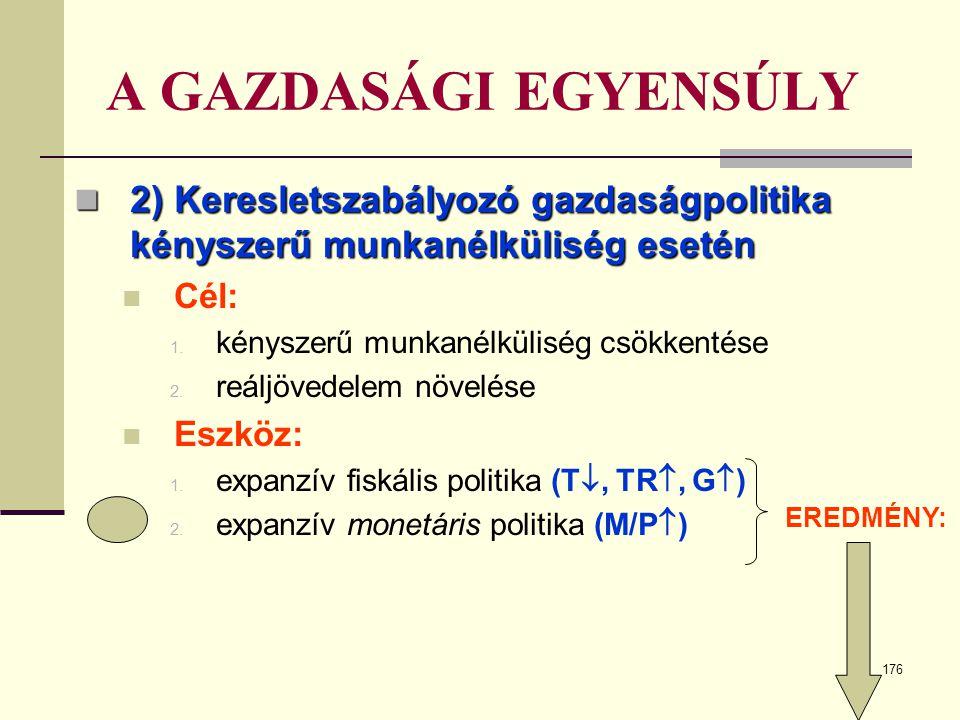 A GAZDASÁGI EGYENSÚLY 2) Keresletszabályozó gazdaságpolitika kényszerű munkanélküliség esetén. Cél: