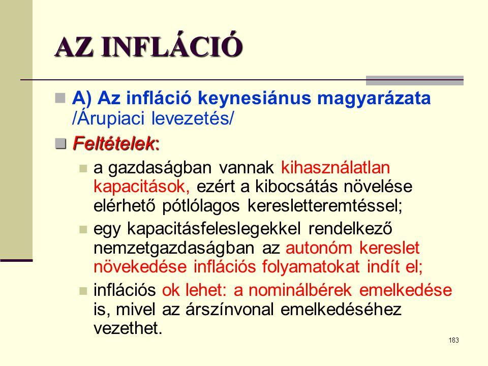 AZ INFLÁCIÓ A) Az infláció keynesiánus magyarázata /Árupiaci levezetés/ Feltételek: