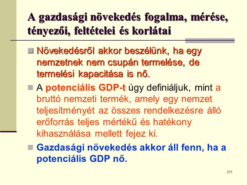A gazdasági növekedés fogalma, mérése, tényezői, feltételei és korlátai