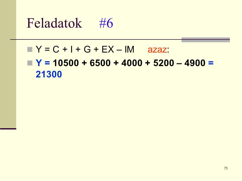 Feladatok #6 Y = C + I + G + EX – IM azaz: