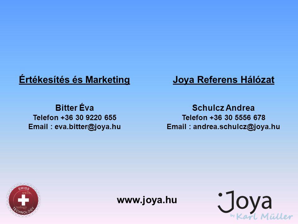 www.joya.hu Értékesítés és Marketing Joya Referens Hálózat Bitter Éva