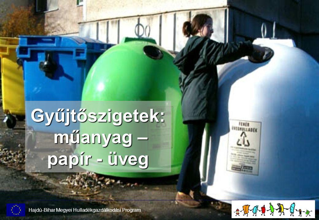 Gyűjtőszigetek: műanyag – papír - üveg