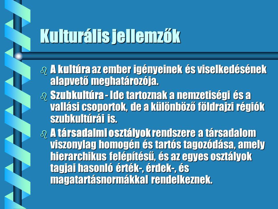 Kulturális jellemzők A kultúra az ember igényeinek és viselkedésének alapvető meghatározója.