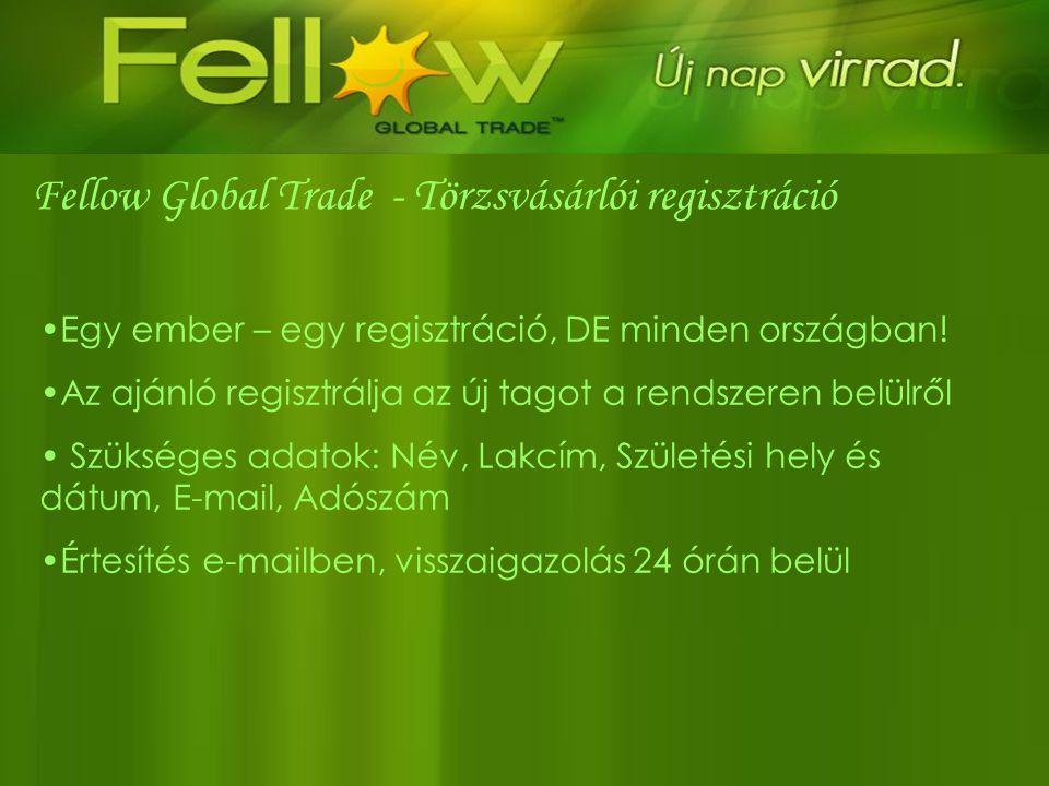 Fellow Global Trade - Törzsvásárlói regisztráció