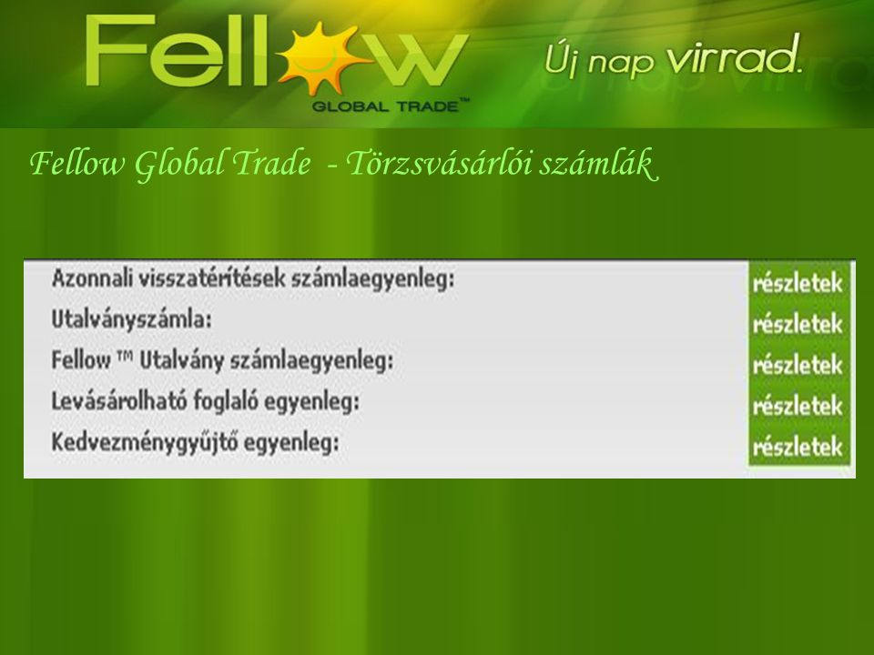Fellow Global Trade - Törzsvásárlói számlák