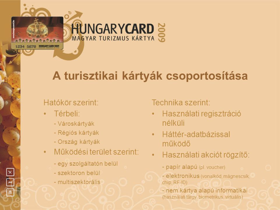 A turisztikai kártyák csoportosítása