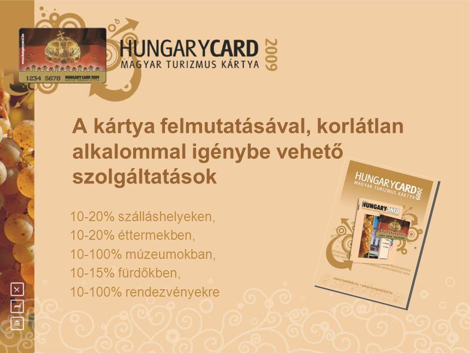 A kártya felmutatásával, korlátlan alkalommal igénybe vehető szolgáltatások