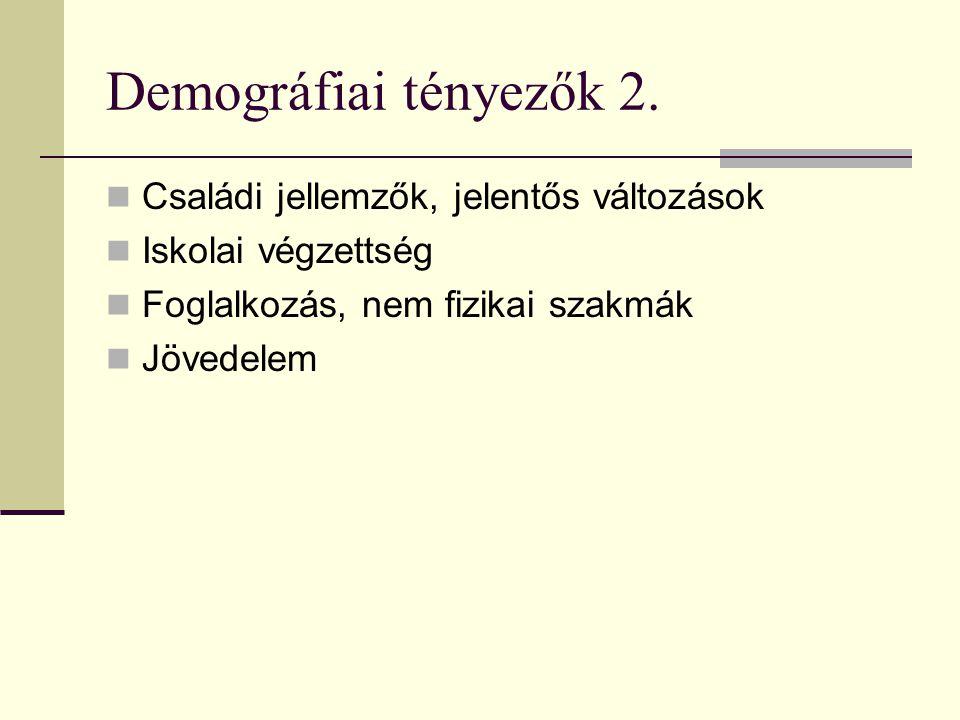 Demográfiai tényezők 2. Családi jellemzők, jelentős változások