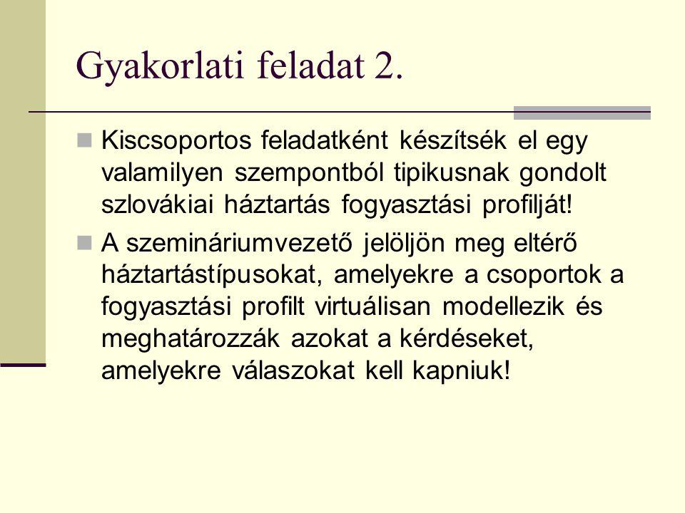 Gyakorlati feladat 2. Kiscsoportos feladatként készítsék el egy valamilyen szempontból tipikusnak gondolt szlovákiai háztartás fogyasztási profilját!