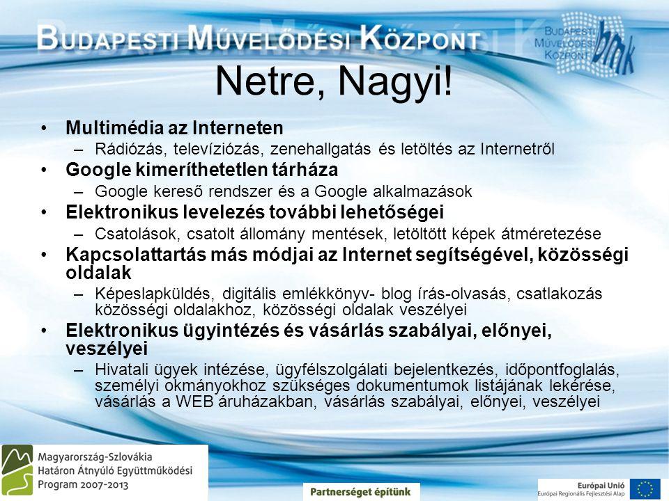 Netre, Nagyi! Multimédia az Interneten Google kimeríthetetlen tárháza