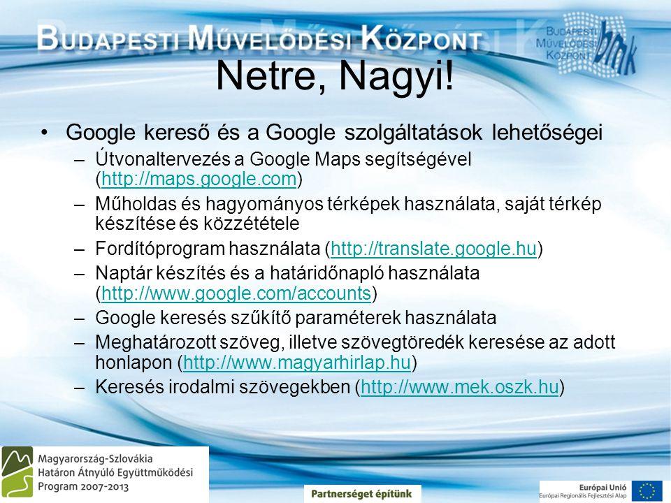 Netre, Nagyi! Google kereső és a Google szolgáltatások lehetőségei
