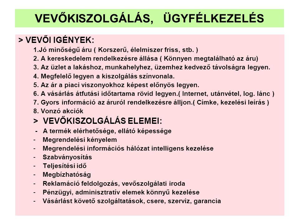 VEVŐKISZOLGÁLÁS, ÜGYFÉLKEZELÉS