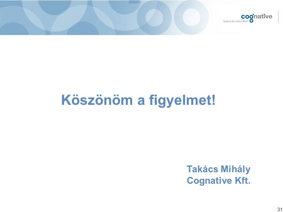 Köszönöm a figyelmet! Takács Mihály Cognative Kft.
