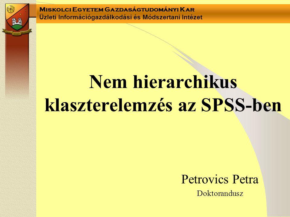 Nem hierarchikus klaszterelemzés az SPSS-ben