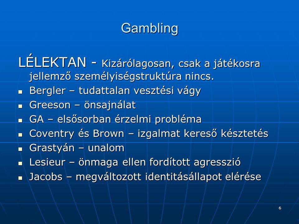 Gambling LÉLEKTAN - Kizárólagosan, csak a játékosra jellemző személyiségstruktúra nincs. Bergler – tudattalan vesztési vágy.