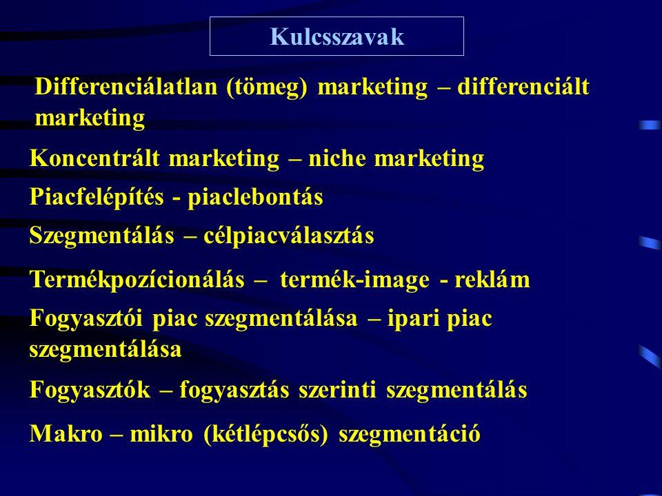 Kulcsszavak Differenciálatlan (tömeg) marketing – differenciált marketing. Koncentrált marketing – niche marketing.