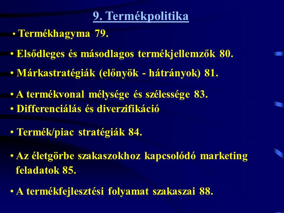9. Termékpolitika Elsődleges és másodlagos termékjellemzők 80.