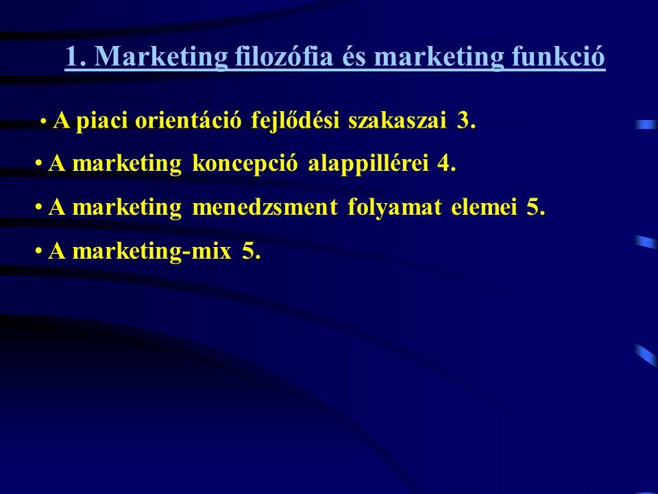 1. Marketing filozófia és marketing funkció