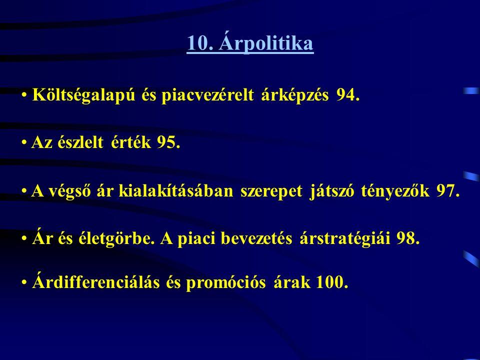 10. Árpolitika Költségalapú és piacvezérelt árképzés 94.