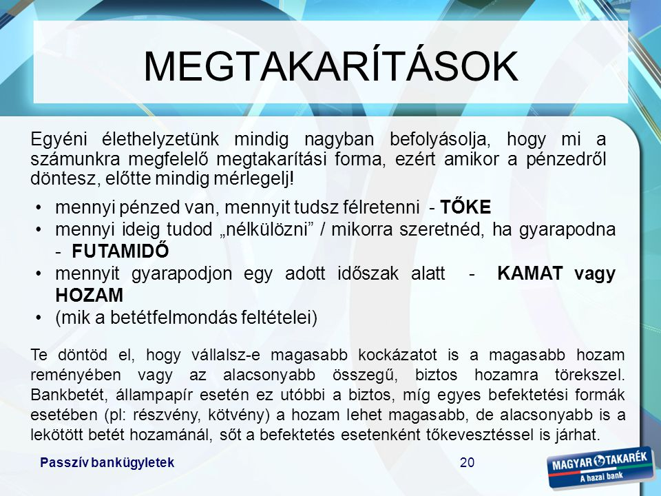 MEGTAKARÍTÁSOK