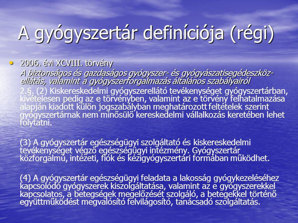 A gyógyszertár definíciója (régi)