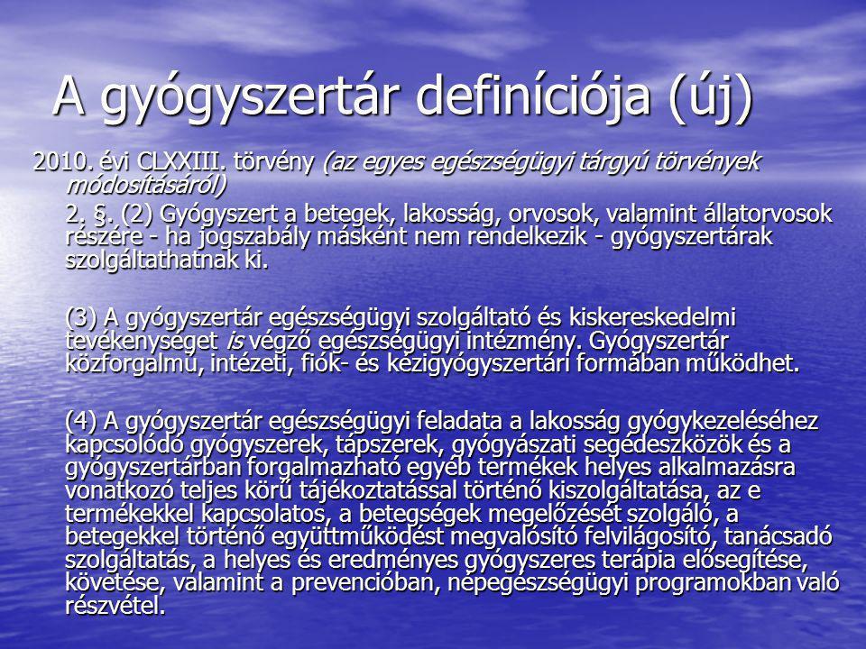 A gyógyszertár definíciója (új)