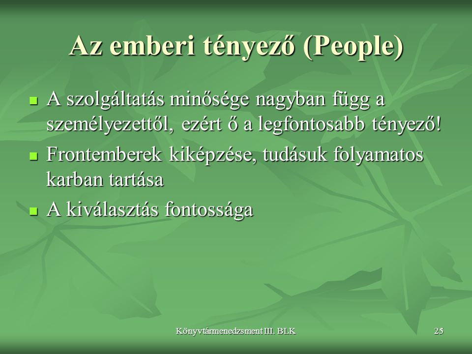 Az emberi tényező (People)