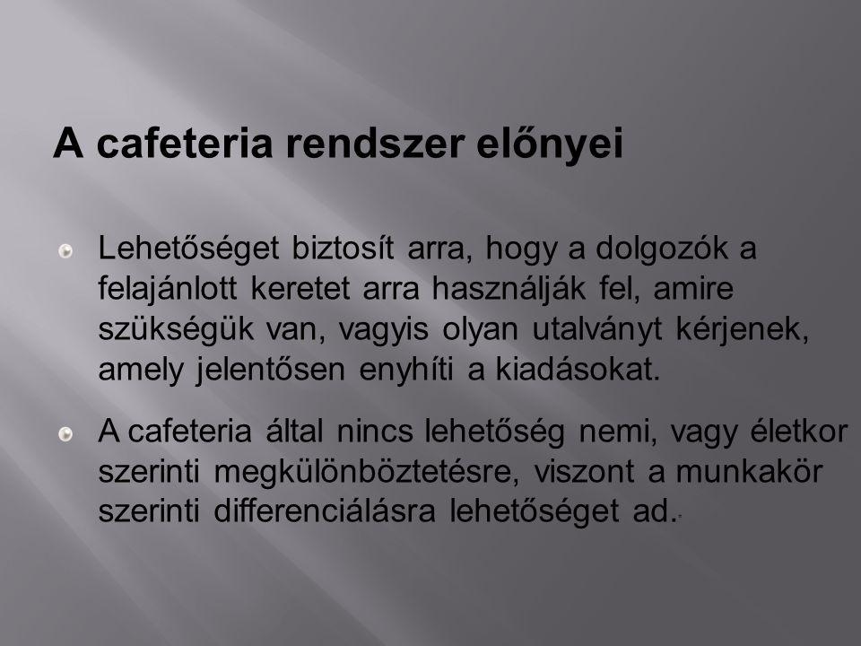 A cafeteria rendszer előnyei