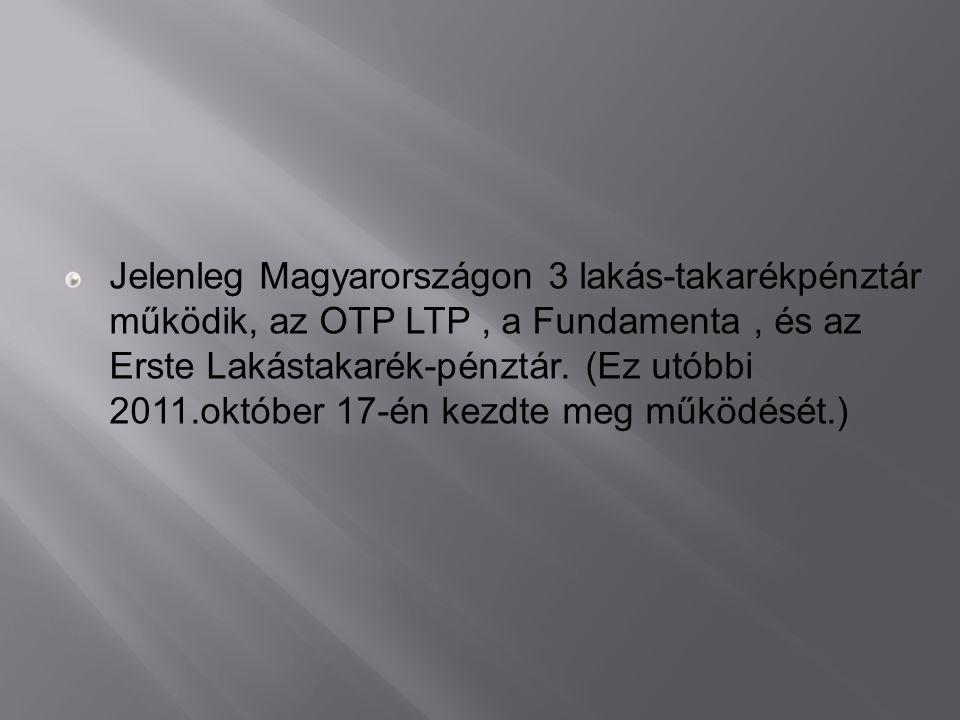 Jelenleg Magyarországon 3 lakás-takarékpénztár működik, az OTP LTP , a Fundamenta , és az Erste Lakástakarék-pénztár.