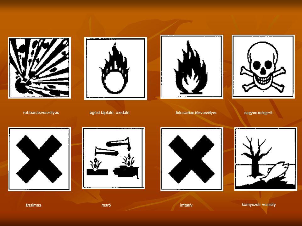 robbanásveszélyes égést tápláló, oxidáló. fokozottan tűzveszélyes. nagyon mérgező. ártalmas. maró.