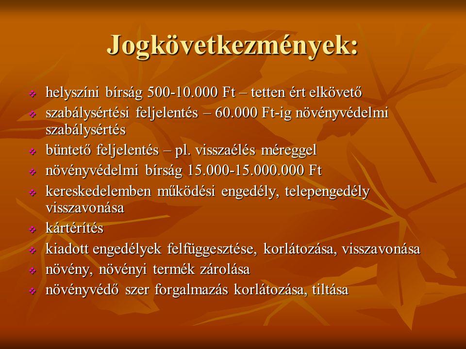 Jogkövetkezmények: helyszíni bírság 500-10.000 Ft – tetten ért elkövető. szabálysértési feljelentés – 60.000 Ft-ig növényvédelmi szabálysértés.