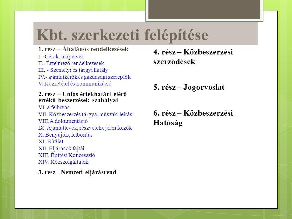 Kbt. szerkezeti felépítése