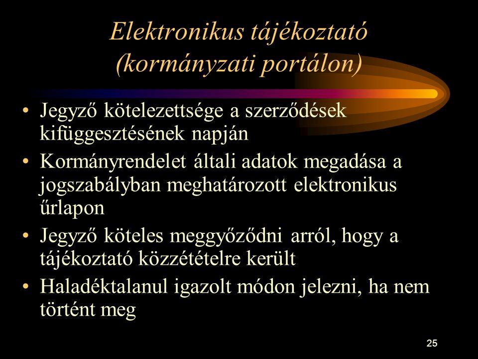 Elektronikus tájékoztató (kormányzati portálon)