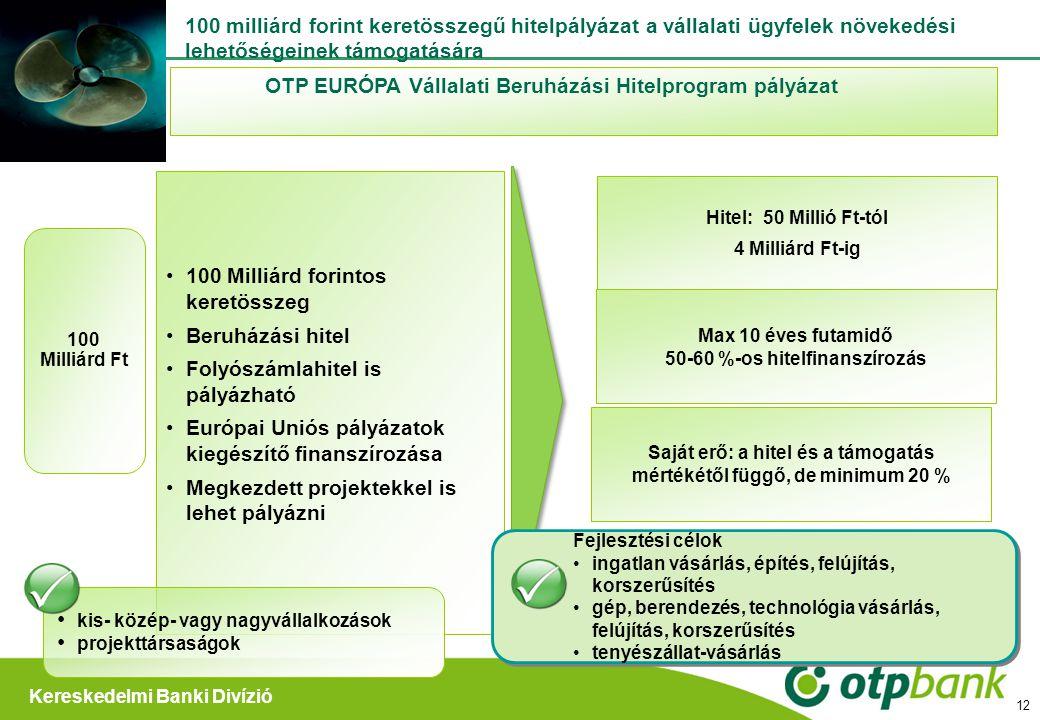 OTP EURÓPA Vállalati Beruházási Hitelprogram pályázat