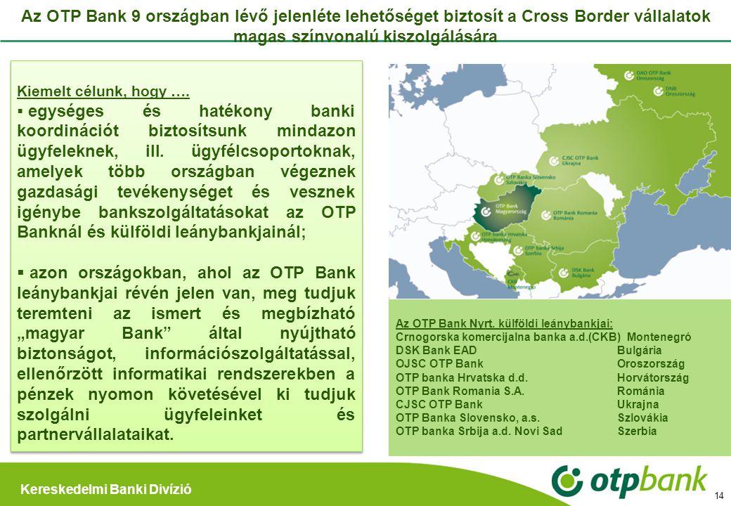 Az OTP Bank 9 országban lévő jelenléte lehetőséget biztosít a Cross Border vállalatok magas színvonalú kiszolgálására