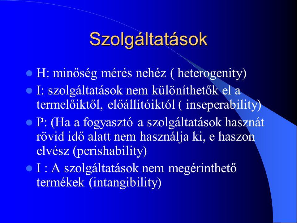 Szolgáltatások H: minőség mérés nehéz ( heterogenity)