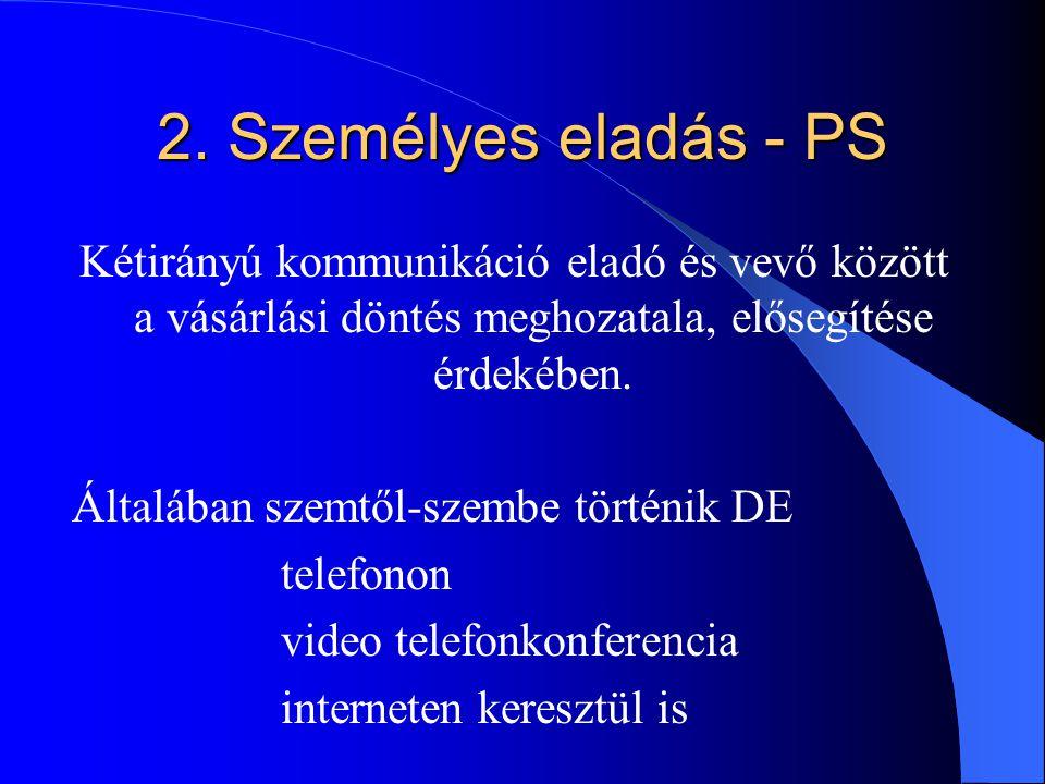 2. Személyes eladás - PS Kétirányú kommunikáció eladó és vevő között a vásárlási döntés meghozatala, elősegítése érdekében.