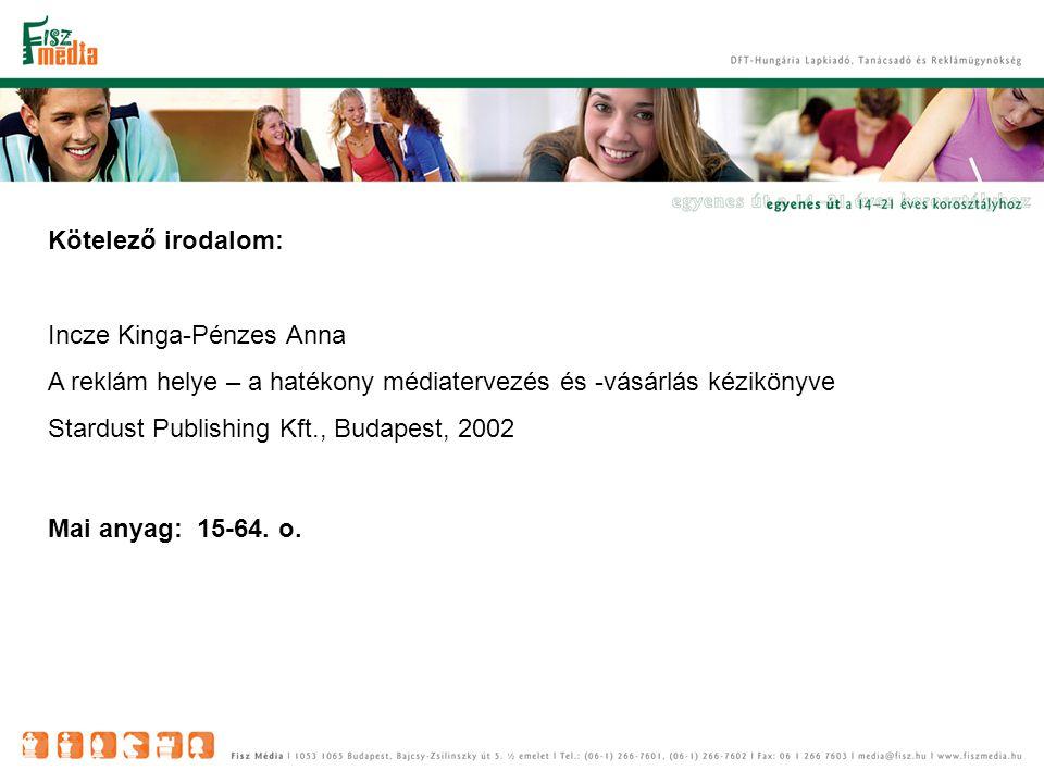 Kötelező irodalom: Incze Kinga-Pénzes Anna. A reklám helye – a hatékony médiatervezés és -vásárlás kézikönyve.