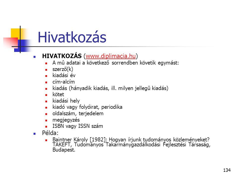 Hivatkozás HIVATKOZÁS (www.diplimacia.hu) Példa: