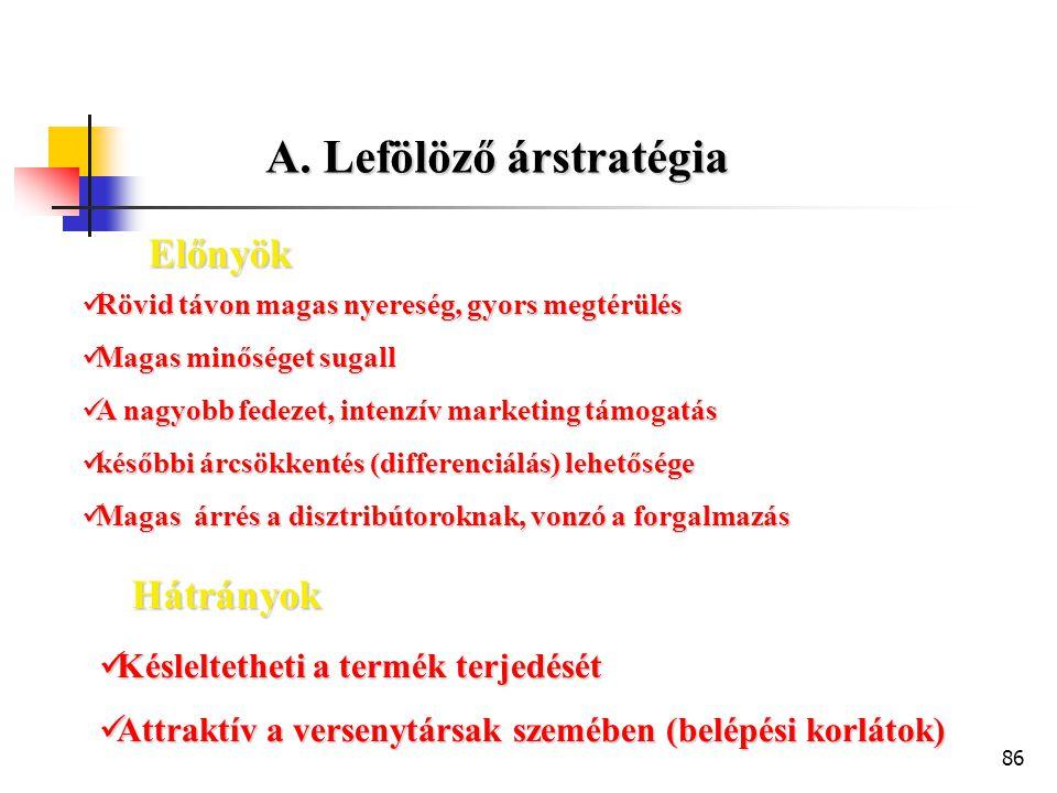 A. Lefölöző árstratégia