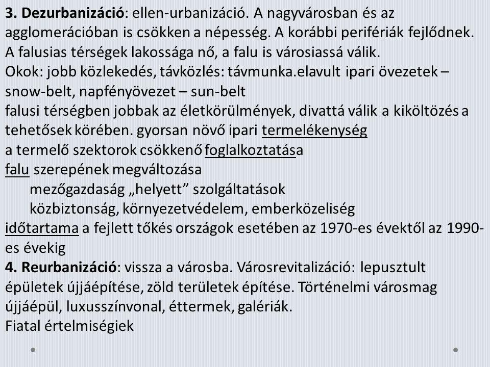 3. Dezurbanizáció: ellen-urbanizáció