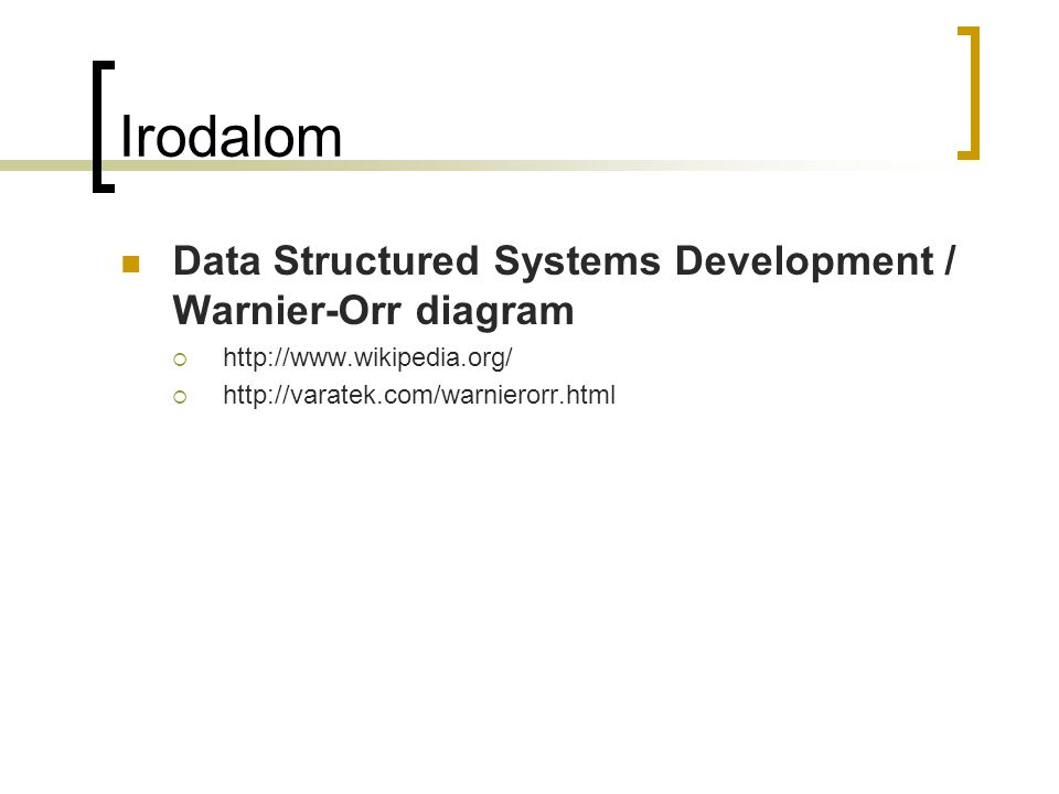 Irodalom Data Structured Systems Development / Warnier-Orr diagram