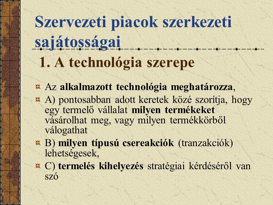 Szervezeti piacok szerkezeti sajátosságai 1. A technológia szerepe