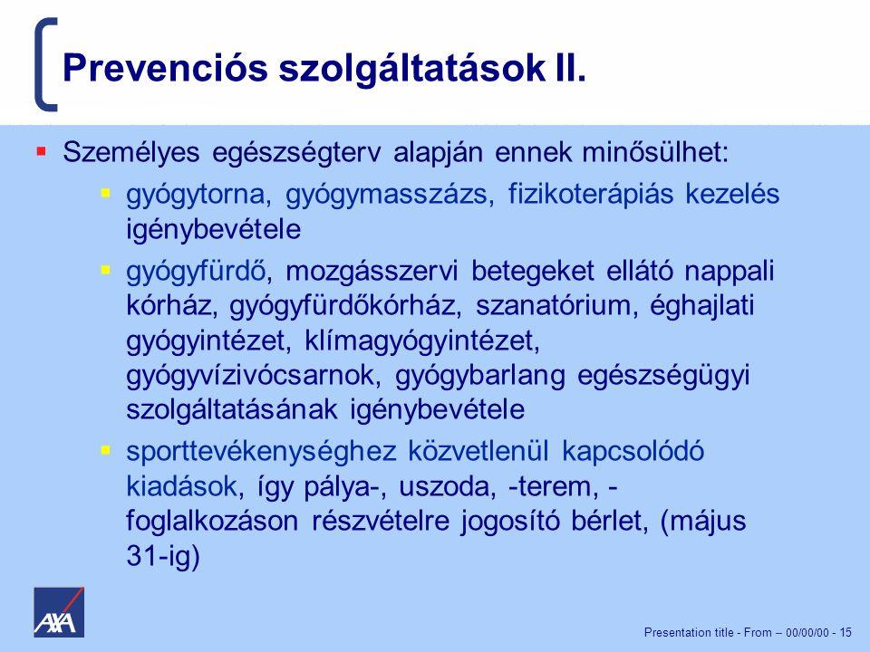 Prevenciós szolgáltatások II.