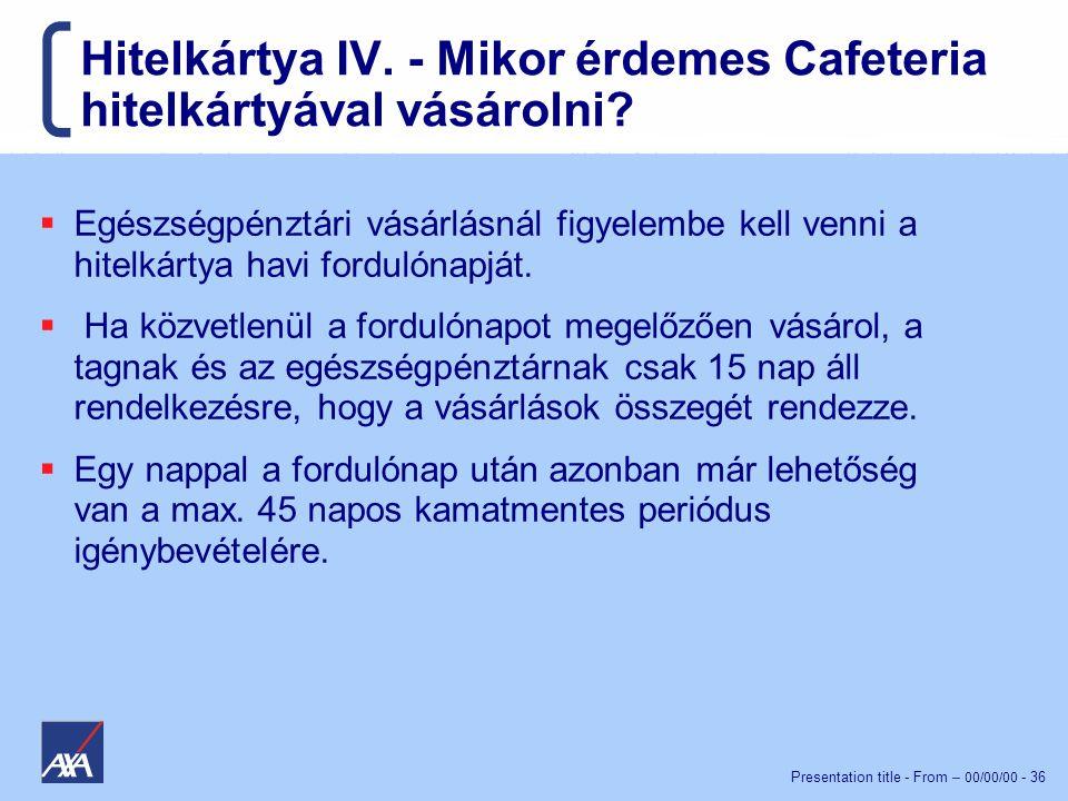 Hitelkártya IV. - Mikor érdemes Cafeteria hitelkártyával vásárolni