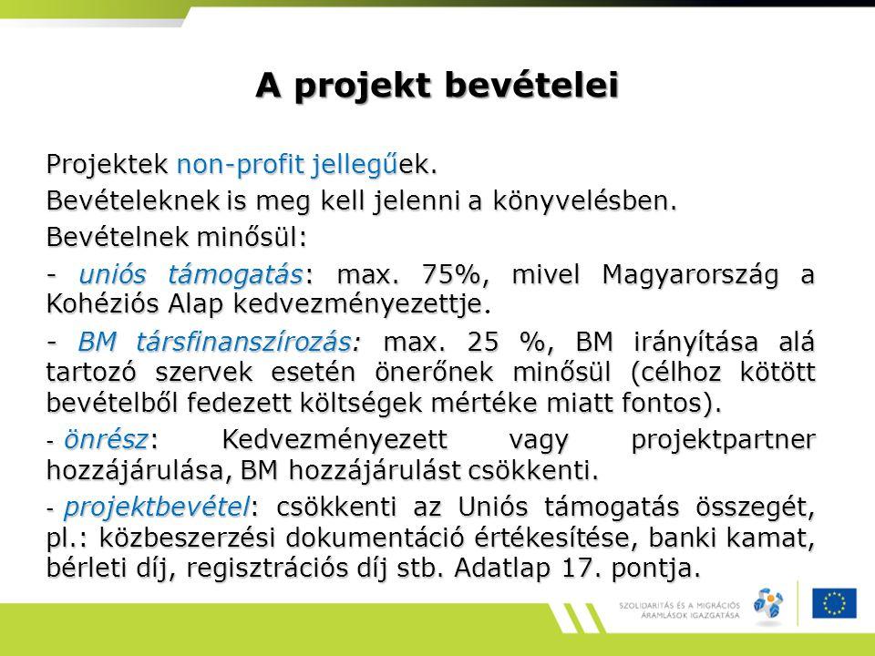 A projekt bevételei Projektek non-profit jellegűek.