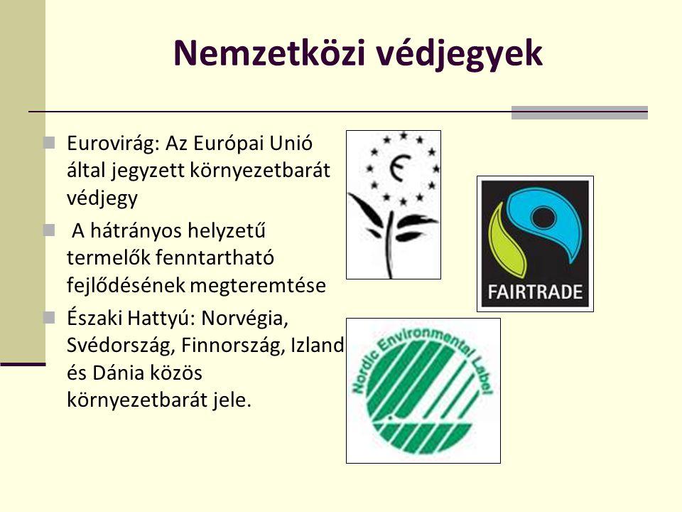 Nemzetközi védjegyek Eurovirág: Az Európai Unió által jegyzett környezetbarát védjegy.