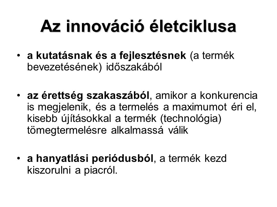 Az innováció életciklusa