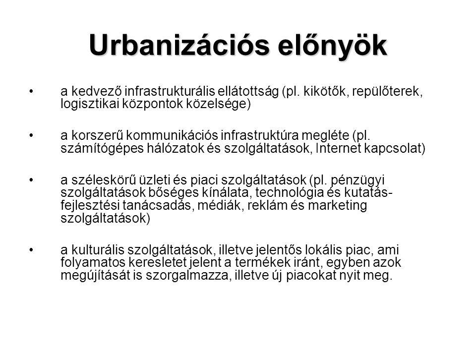 Urbanizációs előnyök a kedvező infrastrukturális ellátottság (pl. kikötők, repülőterek, logisztikai központok közelsége)