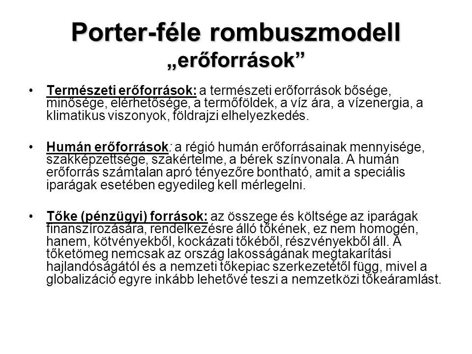 """Porter-féle rombuszmodell """"erőforrások"""